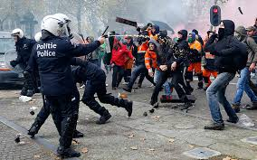Belgium protesters clash with police