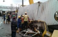 More than 0 persons feared as container falls on 2 commercial buses in Lagos