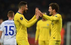 Chelsea demolish Dynamo Kiev with Giroud hat trick to reach Europa quarters