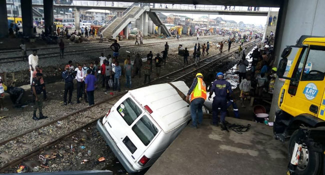Two killed as vehicles collide with train in Oshodi