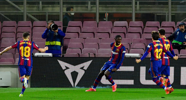 La Liga: Dembele's late winner pushes Barca closer to Atletico