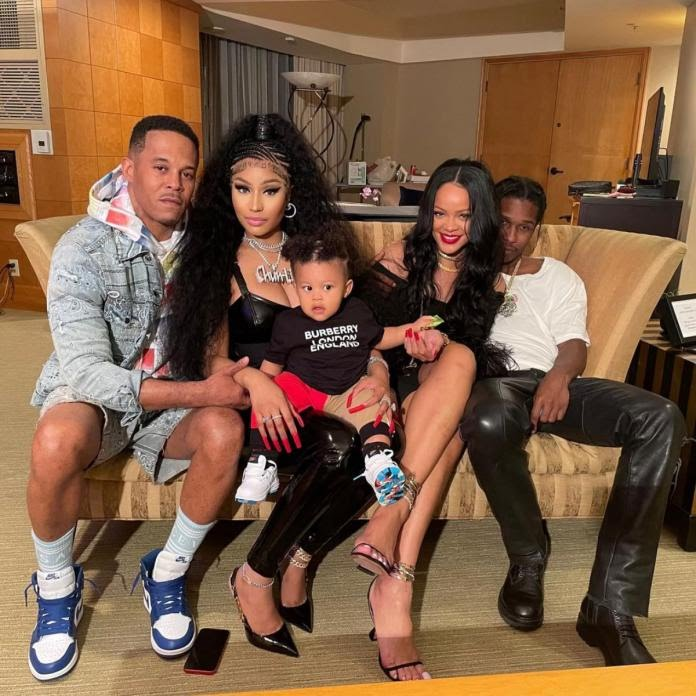 Nicki Minaj and Rihanna reunite! The music queens pose together with beaus Kenneth Petty and A$AP Rocky